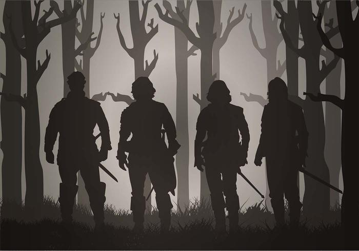 musketeers-through-the-mist-free-vector